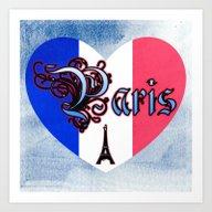 Paris France Heart Art Print