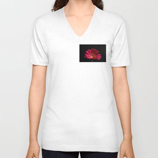 Pink Gerbera Daisy 2 V-neck T-shirt