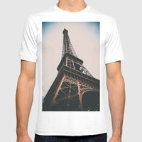 Eiffel Tower Mens Fitted Tee White SMALL