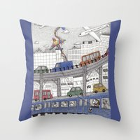 Taking the Red Line Throw Pillow