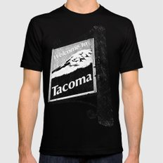 Welcome to Tacoma SMALL Black Mens Fitted Tee