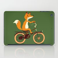 Little fox on the bike iPad Case