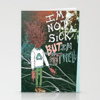 NOT SICK ✂ NOT WELL Stationery Cards