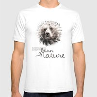 Bear (BornInNature) Mens Fitted Tee White SMALL