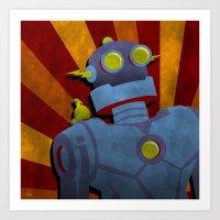 Retro Robot With Yellow … Art Print