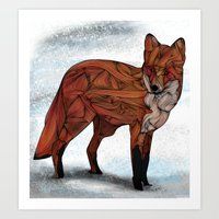 snow Art Prints featuring Red Fox by Ben Geiger