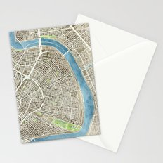 New Orleans City Map Stationery Cards
