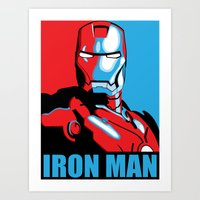 iron man Art Prints featuring Iron Man by C.Rhodes Design