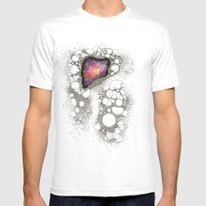 Space Cluster White Mens Fitted Tee SMALL