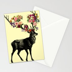 Spring Itself Deer Floral (Cream) Stationery Cards