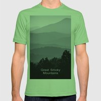 Misty morning at the Smoky's Mens Fitted Tee Grass SMALL