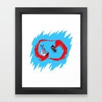 Zombie vs Shark! Framed Art Print