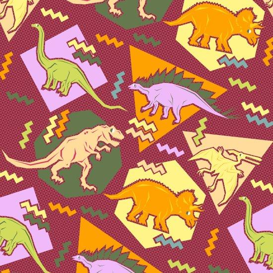 Nineties Dinosaur Pattern version 2. Art Print