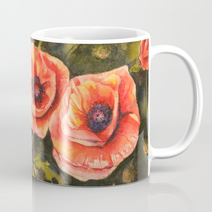 Poppies Sunlit Blooms Watercolor Mug