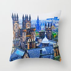 Edinburgh Rooftops  Throw Pillow
