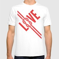 Love Knot (Red) Mens Fitted Tee White SMALL