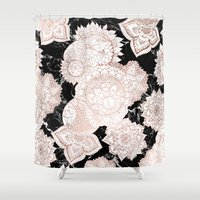 Modern rose gold floral mandala chic marble Shower Curtain