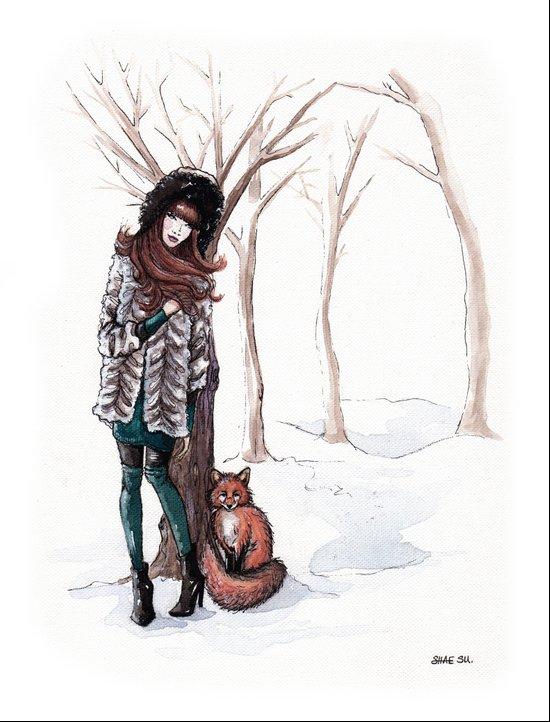 Woodland Frost Art Print