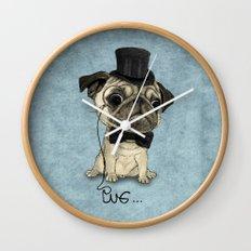 Pug; Gentle Pug (v3) Wall Clock