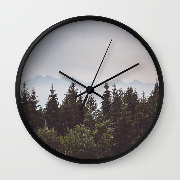 mountain range wall clock by ewkaphoto society6. Black Bedroom Furniture Sets. Home Design Ideas