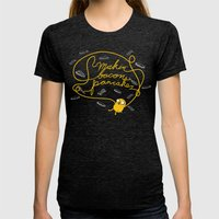 Jake Makin' Bacon Pancakes Womens Fitted Tee Tri-Black SMALL