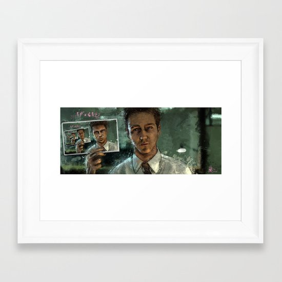 With insomnia, nothing's real. Everything's far away. Everything's a copy of a copy of a copy... Framed Art Print