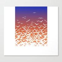 Bird Frenzy at Sunrise Canvas Print