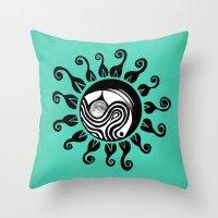 Ocean Sun Original Abstract Illustration Throw Pillow