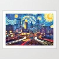 Minneapolis Starry Night Version 1 Art Print