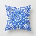 Cobalt Blue & China White Folk Art Pattern Throw Pillow