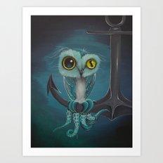 BLue Octowl Art Print