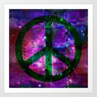 Peace Symbol And Infused… Art Print