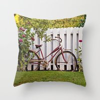 Bike With Fence & Flower… Throw Pillow