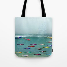 colorfull sardine in the water Tote Bag