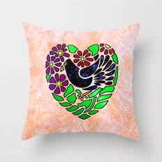 Gothic Bird in Heart on Pink Throw Pillow