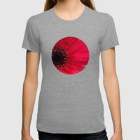 Red Gerber Daisy Womens Fitted Tee Tri-Grey SMALL