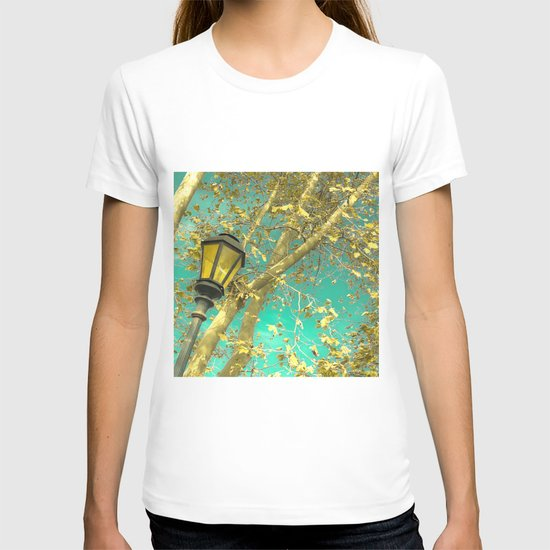 Autumn Gold Leafs in Turquoise Sky  T-shirt