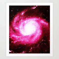 Galaxy Hot Pink Spiral Art Print