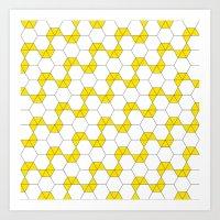 B/W & Yellow Hexagon pattern Art Print