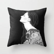 Forest and night in black & white Throw Pillow