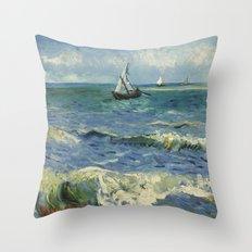 The Sea at Les Saintes-Maries-de-la-Mer by Vincent van Gogh Throw Pillow