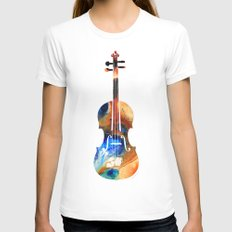 Violin Art By Sharon Cum… Womens Fitted Tee White SMALL