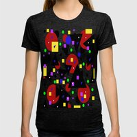 Colorful Womens Fitted Tee Tri-Black SMALL