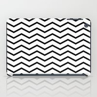 Black Chevron On White iPad Case