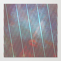 Red stripes on grunge background Canvas Print