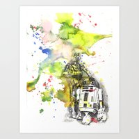 C3PO And R2D2 From Star … Art Print