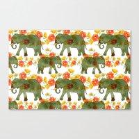 Wading Elephants Canvas Print