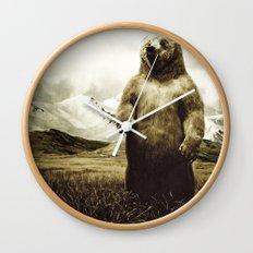 Bear in mountain landscape Wall Clock