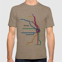 Chicago Subway Mens Fitted Tee Tri-Coffee SMALL