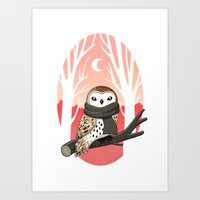 winter Art Prints featuring Winter Owl by Freeminds